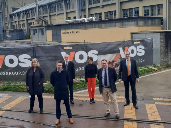 Celebrating the milestone: Member for Bass Bridget Archer, Vos Constructions CEO Kurt Jones, Mayor Albert van Zetten, Liberal Candidate for Rosevears Jo Palmer, Professor Dom Geraghty and Minister for State Growth Michael Ferguson.